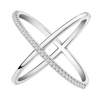 Beautiful Infinity Design Ring Micro Paved CZ Silver or Rose Gold Size 5,6,7,8,9