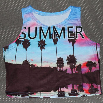 Women summer crop top printed Sexy lady loved design bird pineapple palm tree chile letter beach dog elastic fabric