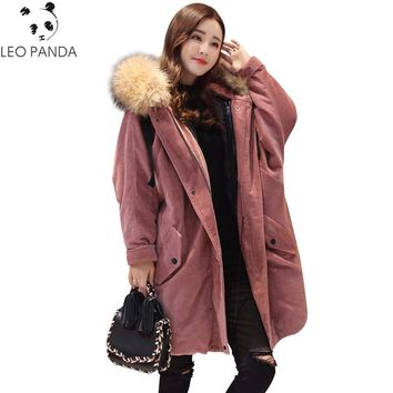 Plus Size Winter Cotton Jacket Women Large Raccoon Fur Parka Corduroy Coat Lady Thick Warm Fake Lambswool Lining Female Overcoat