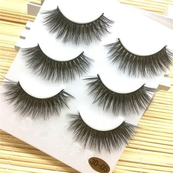 3 Pairs Think Long False Eyelashes Makeup Natural Fake Thick Black Eye Lashes Makeup Tool for Party 2JU22