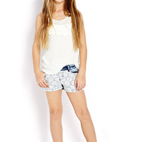 FOREVER 21 GIRLS Prairie Garden Denim Shorts (Kids) Indigo/Cream