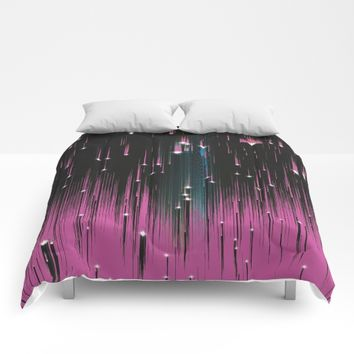 Pink Meteors Comforters by DuckyB