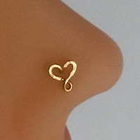 Heart Nose Ring, Gold filled Nose Stud. Swirl Heart Nose Stud, Helix, Tragus, Cartilage, Earring
