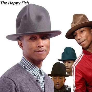 pharrell hat felt fedora hat for woman men hats black top hat