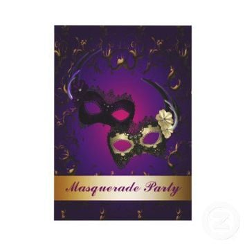 Purple Mardi Gras Mask Masquerade Party Invitation from Zazzle.com