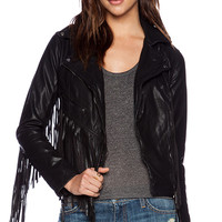 BLANKNYC Fringe Moto Jacket in Black
