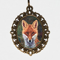 Fox Necklace, Foxes, Woodland, Fox Jewelry, Oval Pendant