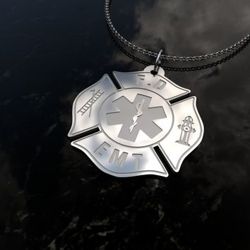 Custom Engraved [Firefighter] Sterling Silver Pendant Necklace