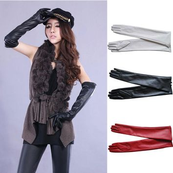 1pair Sexy Women PU Leather Elbow Long Gloves Winter Keep Warm Full Finger Mittens Glove Outdoors  -MX8