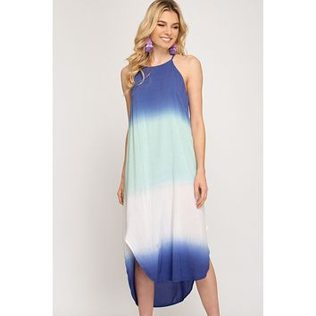 Ombre Dyed Midi Cami Dress - Blue/Mint