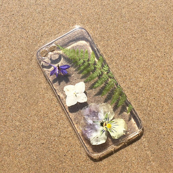 Pressed flower phone case iPhone 6 and 6plus, iphone SE case, dried leaf iphone 7 case, unique gift for her