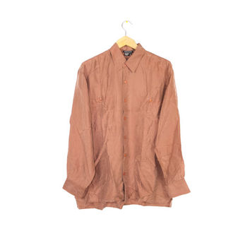 90s SILK copper shirt / vintage 1990s / SOFT! / long sleeve button down / mens large