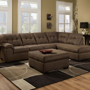 Simmons 9558 Velocity Shitake Chaise Sectional