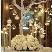 12PCS   Brand Hanging Tealight Holder Glass Candle Holder Globes Terrarium Wedding Candlestick Vase Home Hotel Bar  Decor