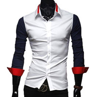 The Griffin Tailored Fit Shirt Navy/Red