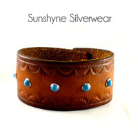 Brown Leather Cuff with Turquoise