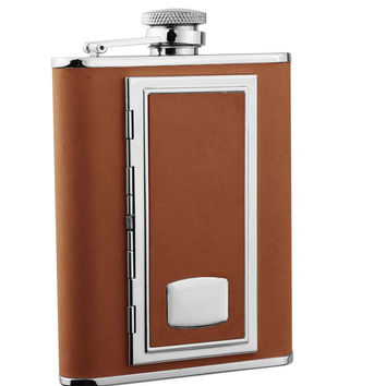 Visol SP Brown Brown Leather Flask with Built-in Cigarette Case - 6 oz