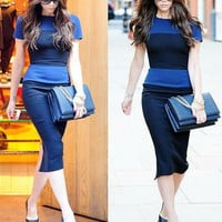 Dark Blue Color Block Short Sleeve Midi Pencil Dress