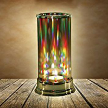 Rainbow Hurricane Candleholder - Crystal Prism Glass Cylinder