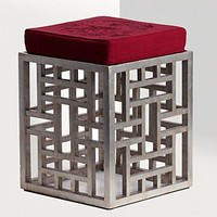 Natori Fretwork Stool, Foil Antique Silver | Bloomingdale's