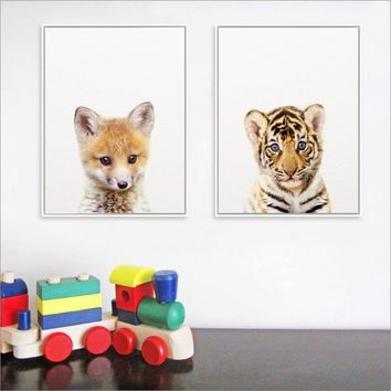 Forest Jungle Animal Prints Baby Tiger Art Print Poster , Woodland Nursery Animals Fox Canvas Painting Kids Room Wall Art Decor