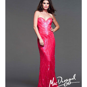 Mac Duggal 2014 Prom Dresses - Neon Coral Sequin Strapless Sweetheart Prom Gown