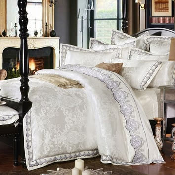 4/6 pcs White Jacquard Silk Cotton Luxury Bedding Set King Size Queen Bed Set Lace Duvet Cover Bed Sheet Pillowcase