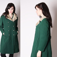 Vintage 1950s Emerald Green Wool and Mink Saltaire Coat / Wool Coat / 50s Coat / 50s Emerald Green / 1910