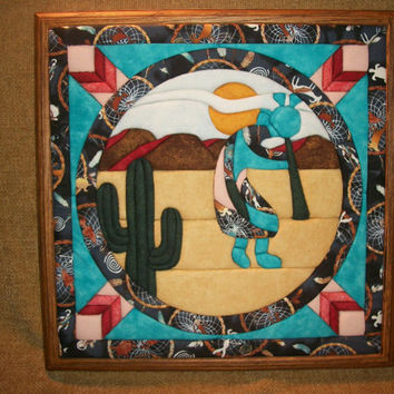 Home Decor, Handcrafted Picture, Southwest Style Art, Kokopelli, Cactus, Desert Landscape, Quilted Art, Fabric Art, Framed Art, Colorful