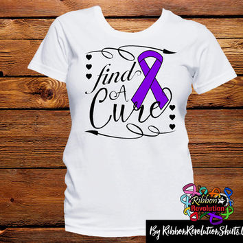 Purple Ribbon Find A Cure Shirts For Alzheimer's Disease, Chiari Malformation, Crohn's Disease, Cystic Fibrosis, Lupus and More
