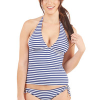 ModCloth Nautical Halter Smooth Sailing Ahead Swimsuit Top in Tankini