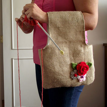 Wristlet Knitting Project bag Jute Bag for Knitting Crochet Projects Pouch bag with crochet flowers embellishment