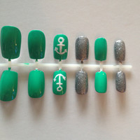 Green with Anchor and Glitter, False, Artificial, Acrylic Nails