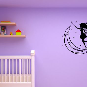 Wall Decal Fairy Moon and Stars Magic Girl Kid's Room Vinyl Sticker (ed1125)