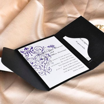 Chandelier Wedding Invitation Sets – Purple Tri Fold Wedding Invites - Simple Wedding Invitation with Black Pocket EWPI001