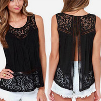 Women Lace Split Back Top