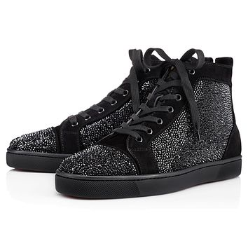 Christian Louboutin Cl Louis Strass Mens Flat Black Strass Classic Sneakers