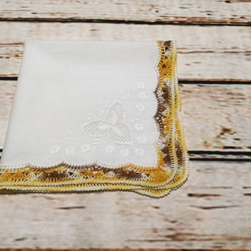 Vintage Ladies Hankies . Lacy Edge Handkerchief . White Hankie . Mustard Yellow Border .