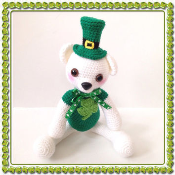 St. Patrick's Day Amigurumi Bear Teddy Bear Crochet Bear Crochet Shamrock Kawaii Bear Stuffed Animal Stuffed Green Toy Bear Gift for Kids