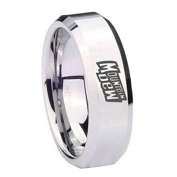 8MM Mirror Bevel Edges Mountain Dew Silver Tungsten Laser Engraved Ring