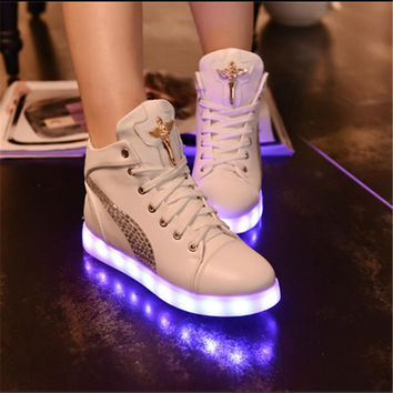 Multi-color Lights Winter High-top Lightning Shoes [9257112908]