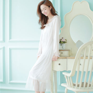 Sexy Shoulder-off Vintage Night Gown Spring Women