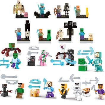 My World Legoinglys Minecrafted Building Block Figures With Baseplate Minecrafted Set DIY Enlighten Bricks Gift Toys Kid