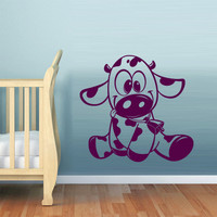 rvz542 Wall Decal Vinyl Sticker Bedroom Decal Cow Bull Funny Nursery Kids Baby Z542
