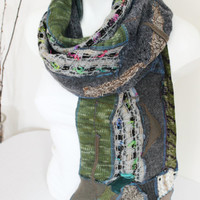 Green brown gray scarf, Handmade men scarf, World-toned scarf, Scarf Unique Christmas Gifts for Men, Design scarf, Winter scarf Unisex