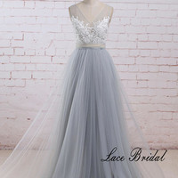 Romantic Dusty Blue A Line Tulle Lace Wedding Dress with Deep V Neckline