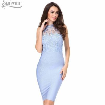 Women Lace Bandage Dress Pink Blue Floral O Neck Sleeveless Mini Bodycon Lady Club Evening Prom Party Dress