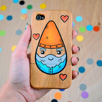 garden gnome love / hand painted gnome and hearts on real wood / iPhone 4/4s or iPhone 5/5s or 5c case / wooden phone case