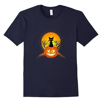 Funny Black Cat Pumpkin Moon Halloween Costume Gift Tee