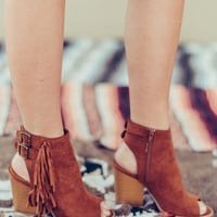 Fringe Benefits Cognac Booties